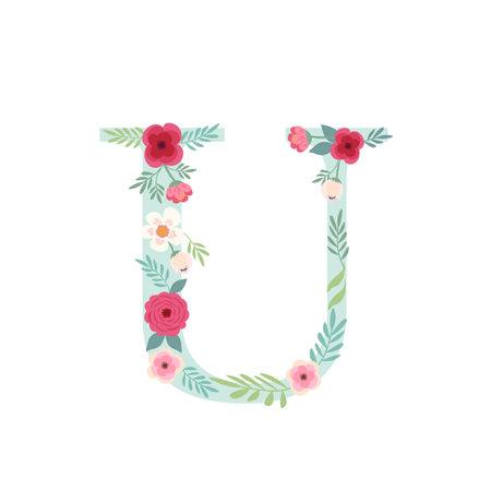 Alphabet letter U with flowers Ilustracja