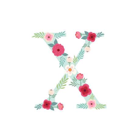 Alphabet letter X with flowers Zdjęcie Seryjne - 161772798