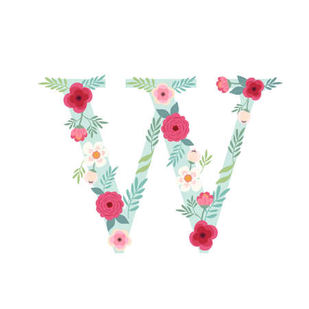 Alphabet letter W with flowers Ilustracja