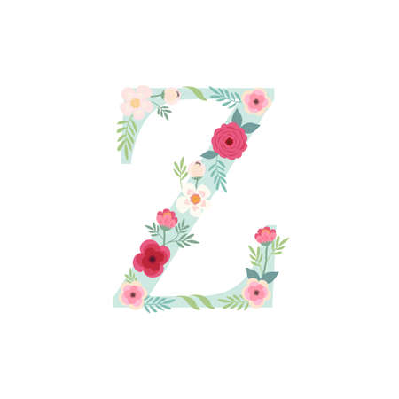 Alphabet letter Z with flowers