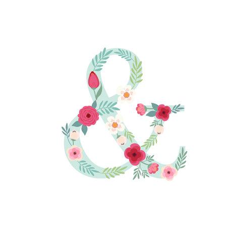 Alphabet symbol and with flowers Ilustracja