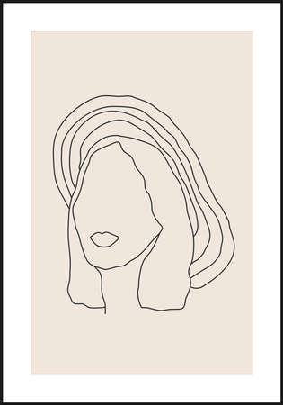 Minimalist contemporary portrait of woman beauty surreal face 矢量图像