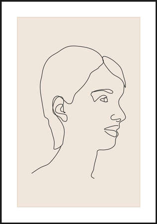 Minimalist contemporary portrait of woman beauty surreal face line art