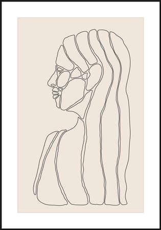 Minimalist contemporary portrait of woman beauty surreal face 向量圖像