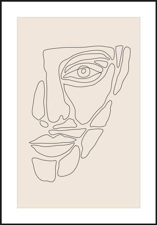 Minimalist contemporary portrait of human beauty surreal face