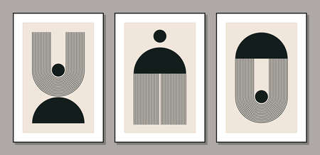 Set of minimal 20s geometric design posters with primitive shapes