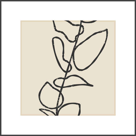 Minimalist poster with botanical branch and leaves abstract collage 일러스트