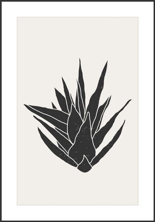Minimalist botanical line art composition with leaves abstract collage