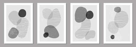 Set of minimalist design posters with abstract organic shapes composition 일러스트