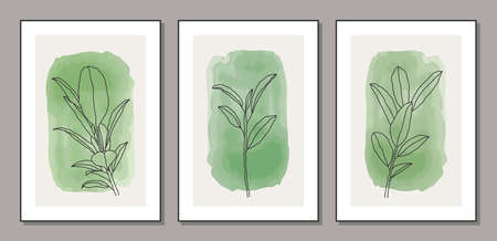 Set of minimalist botanical branch with leaves abstract collage