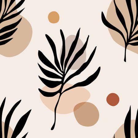 Trendy minimalist seamless botanical pattern with line art composition