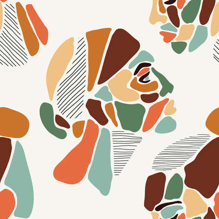 Seamless pattern of minimalist contemporary portrait woman beauty surreal face