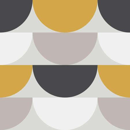 Cute Scandinavian geometric seamless pattern with half circles in neutral colors