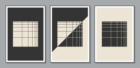 Set of minimal 20s geometric design posters, vector template 矢量图像