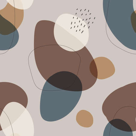 Beautiful trendy hand drawn organic shapes seamless repeating pattern 矢量图像