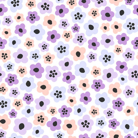 Cute seamless pattern with primitive naive art flowers in scandinavian style