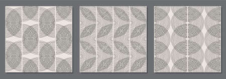 Trendy set of minimalist seamless pattern with abstract hand drawn composition