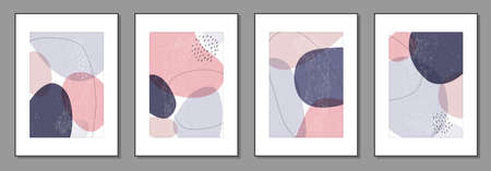 Set of minimal posters with abstract organic shapes composition