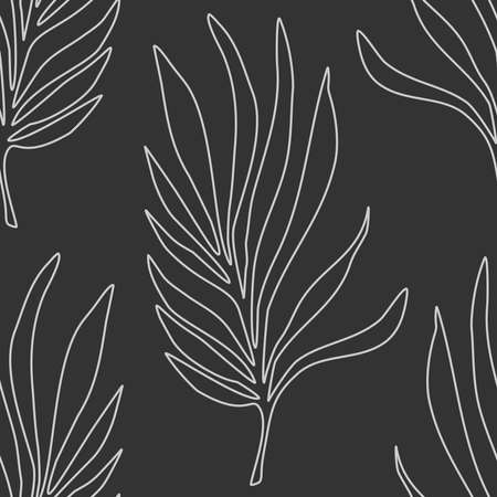 Trendy minimalist seamless botanical pattern with line art composition