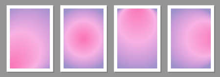 Trendy set of posters with radial gradient 일러스트