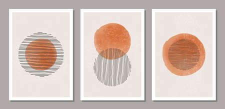 Set of trendy abstract creative minimalist artistic hand drawn composition