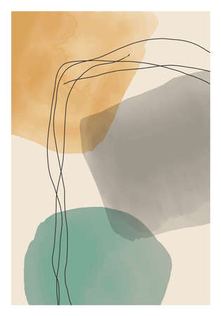 Trendy abstract creative minimalist artistic hand painted composition 일러스트