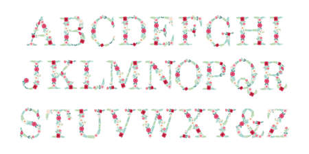 Cute vintage alphabet letters with hand drawn rustic flowers 일러스트