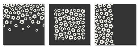 Cute set of retro background with primitive naive art flowers