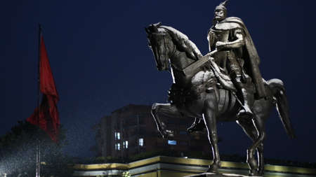 Tirana, Albania - Photo of the national heros monument,  taken during a winter night.