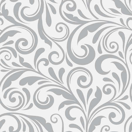Floral seamless vector pattern. A swirl background and wallpaper with curled items. An ornament seamless floral pattern. Vektorgrafik