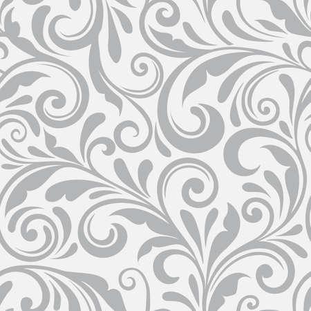 Bloemen naadloos vectorpatroon. Een swirl achtergrond en behang met gekrulde items. Een ornament naadloos bloemenpatroon. Vector Illustratie