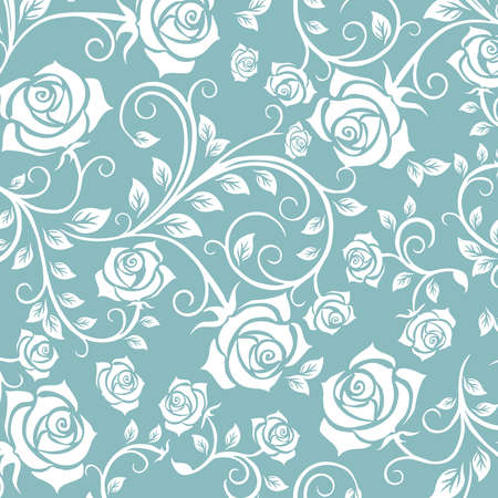 Floral seamless pattern. Ornamental design of rose, flower with swirl effect. A seamless wallpaper and background for fabric, textile and paper. Vector Illustration