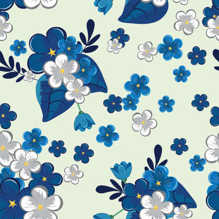 Blue flowers seamless pattern, vector illustration.
