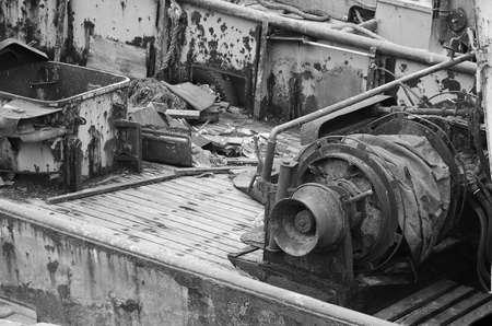 old fishing boat machinery