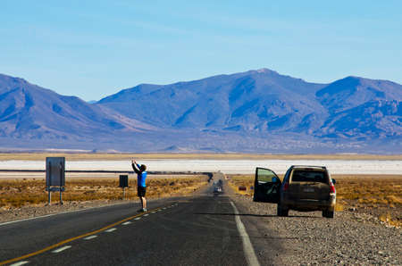 Tourists in the Puna Argentina, Salinas Grandes province of Jujuy Stock Photo