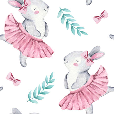 Seamless pattern, watercolor illustration with cute baby bunny and leaves Stock fotó