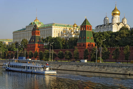 Holiday cruiser in Moscow river near Moscow Kremlin