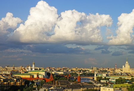 Cumulus clouds over Moscow city center and Kremlin panorama photo