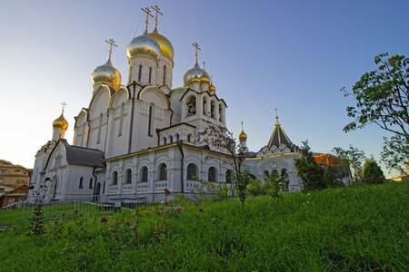 crux: Cathedral of Nativity of Mary in Conception convent in Moscow view from garden lawn