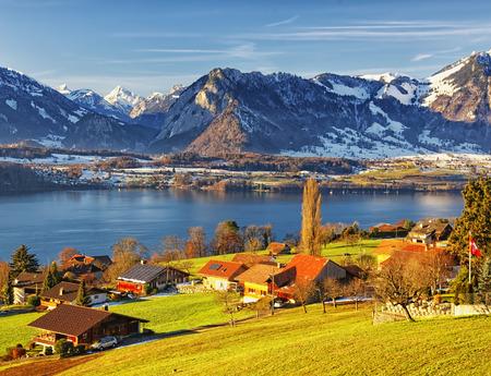 Swiss Thun lake region rural view in winter morning photo