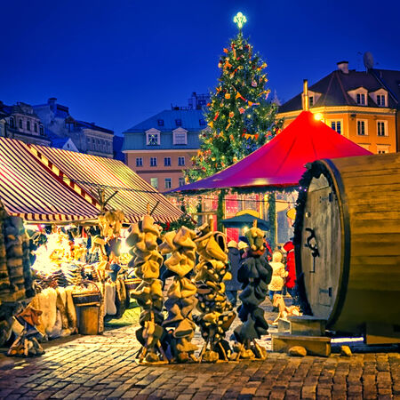 European Christmas market square in the evening Riga