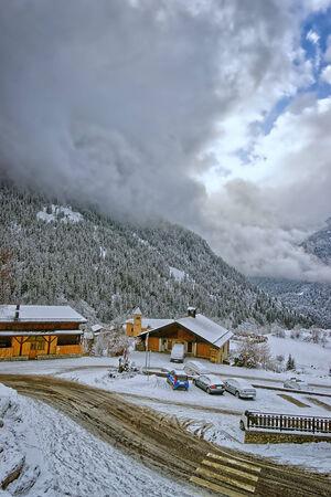 Small village Champagny-en-Vanoise in swiss alps photo