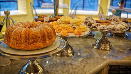 bisquit: Bisquits, cakes, cookies and whoopie cookies on the storefront in bakery