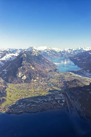 interlaken: Aerial panorama city of Interlaken and Brienz and Thun lakes