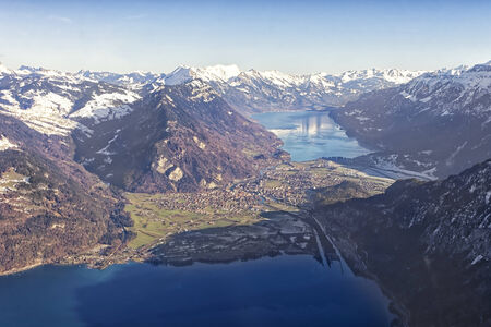 aerial view city: Aerial view city of Interlaken, Thun Lake and Brienz lake