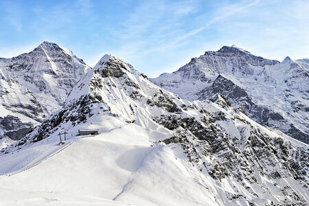 monch: Monch, Jungfrau and Tschuggen alpine peaks in winter