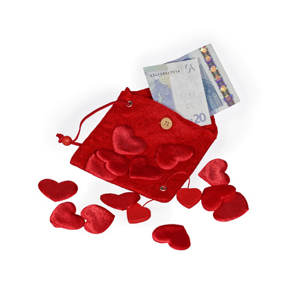 twenty euro banknote: Red pouch with red hearts and twenty euro banknote