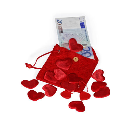 twenty euro banknote: Red purse with red hearts and twenty euro banknote