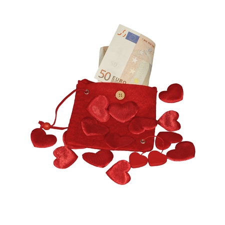 fifty euro banknote: Red purse with fifty euro banknote and red hearts