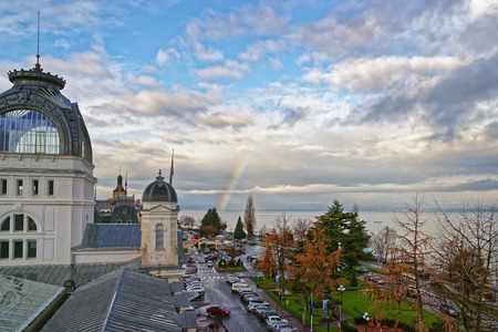Rainbow over Lac Leman in  Evian-les-Bains in France in winter